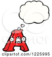 Clipart Of A Thinking Letter A Monster Royalty Free Vector Illustration by lineartestpilot
