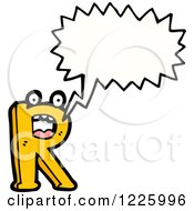 Clipart Of A Talking Letter R Monster Royalty Free Vector Illustration by lineartestpilot
