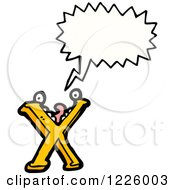 Clipart Of A Talking Letter X Monster Royalty Free Vector Illustration by lineartestpilot