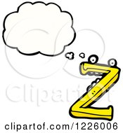 Clipart Of A Thinking Letter Z Monster Royalty Free Vector Illustration by lineartestpilot
