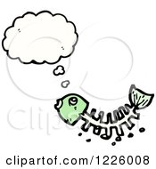 Clipart Of A Thinking Fish Bone Skeleton Royalty Free Vector Illustration by lineartestpilot