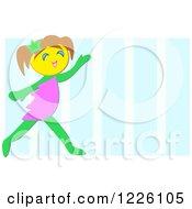 Happy Elf Girl Over Blue Stripes