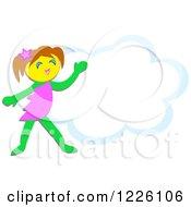 Happy Elf Girl Over A Cloud