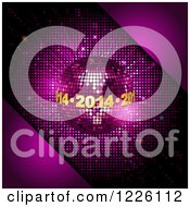 Clipart Of A 3d Diso Ball With Golden 2014 New Year Encircling Over Pink Royalty Free Vector Illustration