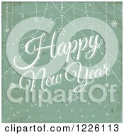 Happy New Year Greeting Over Distressed Green And Snowflakes