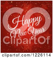Clipart Of A Happy New Year Greeting Over Red Stars And Gold Sparkles Royalty Free Vector Illustration by elaineitalia
