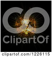 Clipart Of A 3d Golden Diso Ball Shining On Black Royalty Free Vector Illustration