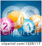Clipart Of A 3d New Year 2014 Bingo Balls Over A Starburst On Blue Royalty Free Vector Illustration