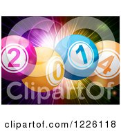 Clipart Of A 3d New Year 2014 Bingo Balls Over A Colorful Explosion Royalty Free Vector Illustration