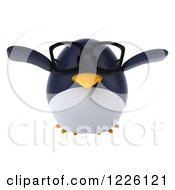 Clipart Of A 3d Bespectacled Penguin Flying Royalty Free Illustration