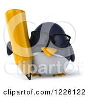 Clipart Of A 3d Bespectacled Penguin Writing With A Pencil Royalty Free Illustration