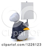 Clipart Of A 3d Penguin Chef Holding A Sign Royalty Free Illustration