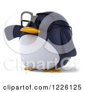 Clipart Of A 3d Bespectacled Penguin Presenting Royalty Free Illustration