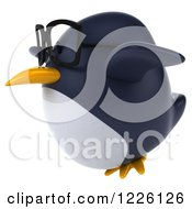 Clipart Of A 3d Bespectacled Penguin Flying To The Left Royalty Free Illustration