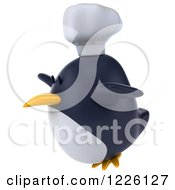 Clipart Of A 3d Penguin Chef Flying Royalty Free Illustration