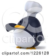 Clipart Of A 3d Penguin Chef Presenting Royalty Free Illustration