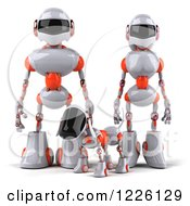 Clipart Of A 3d White And Orange Futuristic Robotic Couple Walking With Their Dog Royalty Free Illustration
