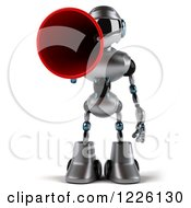 Clipart Of A 3d Silver Male Techno Robot Using A Megpahone Royalty Free Illustration