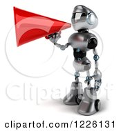 Clipart Of A 3d Silver Male Techno Robot Facing Left And Using A Megpahone Royalty Free Illustration