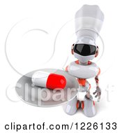 Clipart Of A 3d White And Orange Male Techno Chef Robot Holding Up A Pill On A Platter Royalty Free Illustration