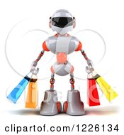 Clipart Of A 3d White And Orange Male Techno Robot Carrying Shopping Bags Royalty Free Illustration