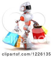 Clipart Of A 3d White And Orange Male Techno Robot Walking And Carrying Shopping Bags Royalty Free Illustration
