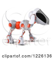 Clipart Of A 3d Robotic Dog Walking To The Right Royalty Free Illustration by Julos