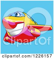 Clipart Of A Happy Yellow Pink And Red Airplane Mascot Flying Over Blue 3 Royalty Free Illustration