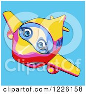 Clipart Of A Happy Yellow Pink And Red Airplane Mascot Flying Over Blue 4 Royalty Free Illustration