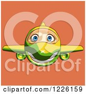 Clipart Of A Happy Yellow And Green Airplane Mascot Flying Over Orange Royalty Free Illustration