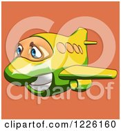 Clipart Of A Happy Yellow And Green Airplane Mascot Flying Over Orange 2 Royalty Free Illustration