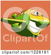 Clipart Of A Happy Yellow And Green Airplane Mascot Flying Over Orange 3 Royalty Free Illustration