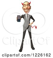 Clipart Of A 3d Devil Con Artist Business Man Holding A Cell Phone Royalty Free Illustration
