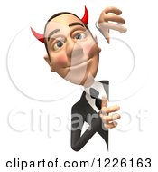 Clipart Of A 3d Devil Con Artist Business Man Looking Around A Sign Royalty Free Illustration