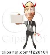Clipart Of A 3d Devil Con Artist Business Man Holding A Business Card Royalty Free Illustration