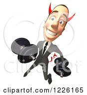 Clipart Of A 3d Devil Con Artist Business Man Working Out With Dumbbells Royalty Free Illustration