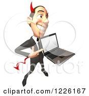 Clipart Of A 3d Devil Con Artist Business Man Presenting A Laptop Royalty Free Illustration