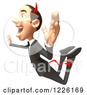 Clipart Of A 3d Devil Con Artist Business Man Jumping Royalty Free Illustration