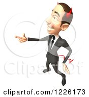 Clipart Of A 3d Devil Con Artist Business Man Forming A Gun With His Hand Royalty Free Illustration