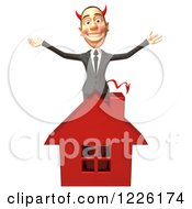 Clipart Of A 3d Devil Con Artist Business Man Behind A Red House Royalty Free Illustration by Julos