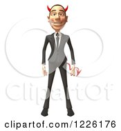 Clipart Of A 3d Devil Con Artist Business Man Facing Front Royalty Free Illustration