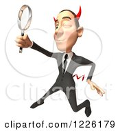 Clipart Of A 3d Devil Con Artist Business Man Using A Magnifying Glass Royalty Free Illustration