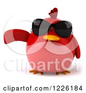 3d Chubby Red Bird Wearing Sunglasses And Presenting