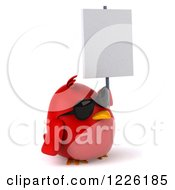 Clipart Of A 3d Chubby Red Bird Wearing Sunglasses And Holding A Sign Royalty Free Illustration