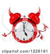 Clipart Of A 3d Devil Alarm Clock Presenting Royalty Free Illustration by Julos