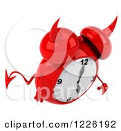 Clipart Of A 3d Devil Alarm Clock Pouting Royalty Free Illustration by Julos