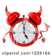 Clipart Of A 3d Devil Alarm Clock Royalty Free Illustration by Julos