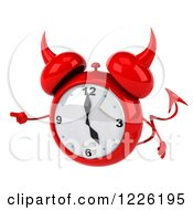 Clipart Of A 3d Devil Alarm Clock Pointing Royalty Free Illustration by Julos