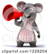 Clipart Of A 3d Koala Mascot Announcing With A Megaphone Royalty Free Illustration