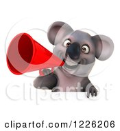 Clipart Of A 3d Koala Mascot Announcing With A Megaphone Over A Sign Royalty Free Illustration
